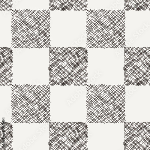 Seamless vector geometrical pattern with scribble squares. - 138005911
