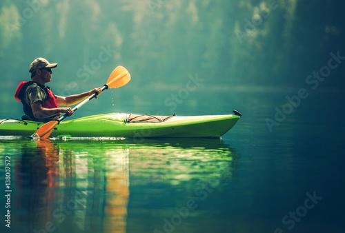 Poster Senior Kayaker on the Lake