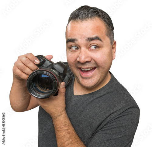Goofy Hispanic Young Male With DSLR Camera Isolated on a White Background Poster