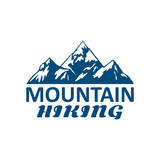 Mountain hiking or hike tour sport vector icon
