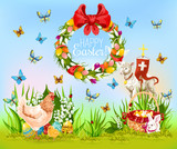 Easter holiday cartoon greeting card design