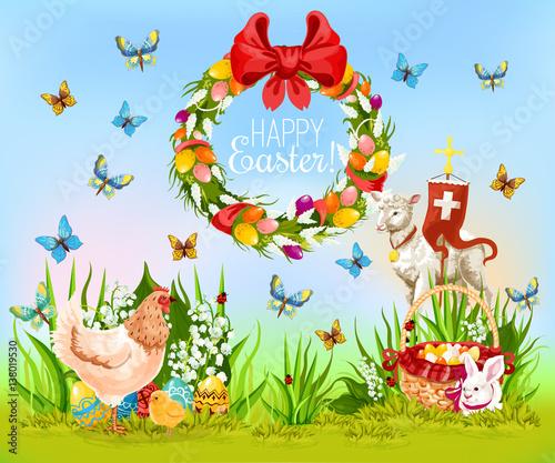 Easter holiday cartoon greeting card design
