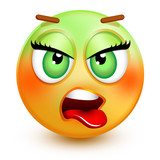 Cute nauseated-face emoticon or 3d smiley emoji showing disgust, with a green face and a stuck-out tongue.