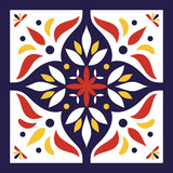 Blue, white, red and yellow tile vector. Spanish or portugal tiles pattern with flower ornaments. - 138019915