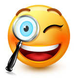 Cute smiley-face emoticon or 3d nerd emoji  searching something with a magnifying glass