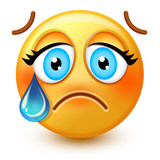 Cute crying-face emoticon or 3d sad emoji with a single tear running from one eye, down the cheek.