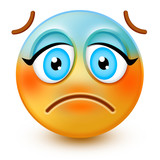 Cute pensive face emoticon or 3d remorseful emoji with cold sweat, that shows a sense of sadness, remorse and regret. Its a distraught-looking emoji which appears to have given up.