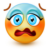 Cute anguished-face emoticon or 3d very worried emoji with raised eyebrows and open mouth. It shows shock and disappointment