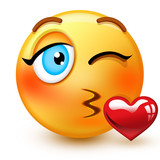Cute kissing-face emoticon or 3d throwing a kiss-emoji that shows romance or affection.