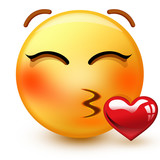 Cute kissing face emoticon or 3d very romantic emoji throwing a passionate kiss with closed eyes.
