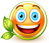 Happy eco-friendly emoticon with a very bright smile, which shows respect for nature and love for green energy.