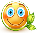 Happy eco-friendly emoticon or 3d smiley emoji, which shows respect for nature and love for green energy.