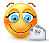 Cute smiley-face emoticon writing a message or opening a mail