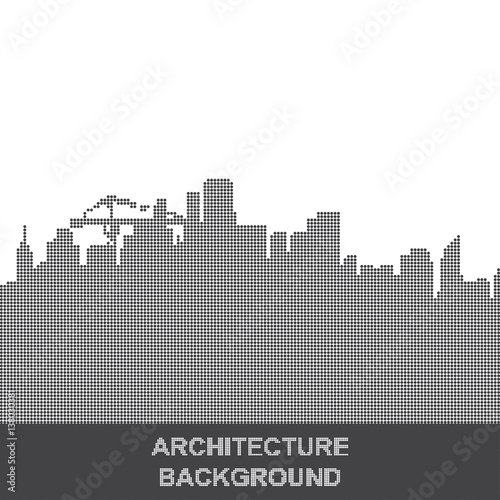 Vector silhouette of the city of the points. Background on the topic of architecture and construction. Flat vector illustration EPS 10 - 138030381