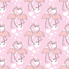 Seamless pattern with heart and Exotic bird.