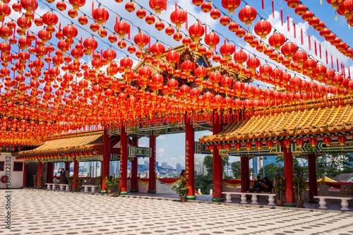 In de dag Kuala Lumpur Chinese New Year Decoration at a Buddhist Temple in Kuala Lumpur