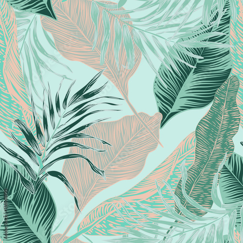 Cotton fabric tropical plants