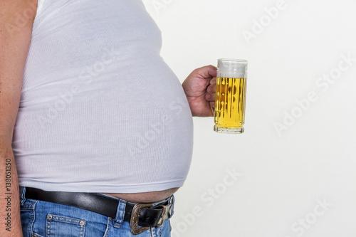 Leinwandbild Motiv Mann mit Übergewicht