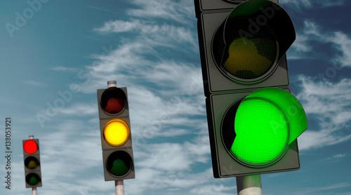 Leinwanddruck Bild Ampeln: Grün, Gelb, Rot