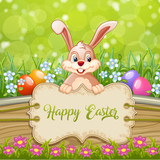Cute Easter greeting card with bunny Easter ,eggs and flowers on wooden sign and green background