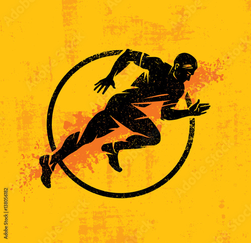 Dynamic Running Man Vector Illustration On Grunge Rough Background With Color Sp Poster