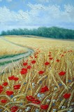 wheat field poppies, oil paintings