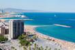 Barceloneta beach in Barcelona, Spain. Aerial view