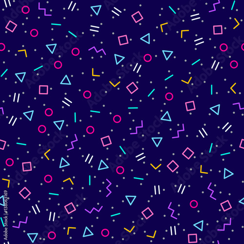 fototapeta na ścianę Abstract geometric dark blue background, memphis style, bright neon colors, seamless vector pattern. Different geometric shapes in tessellation