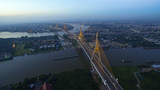 aerial view of bhumibol bridge crossing chaopraya river in bangkok thailand