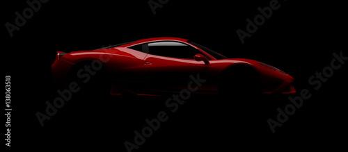 Sportwagen Designstudie im Studiobeleuchtet mit einem einzigen Blitz - 138063518