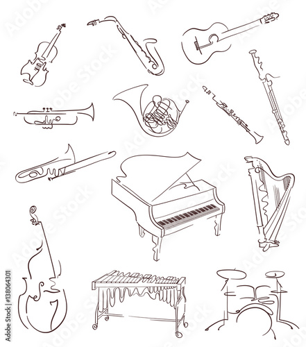 Fototapeta Set of classical musical instruments made in abstract hand drawn style. Vector