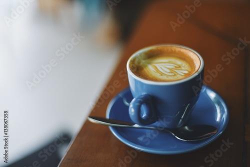 Wall mural coffee latte in coffee shop