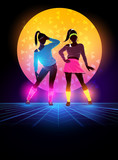 Women dressed up 1980s fashion. Retro dance background design. Vector illustration