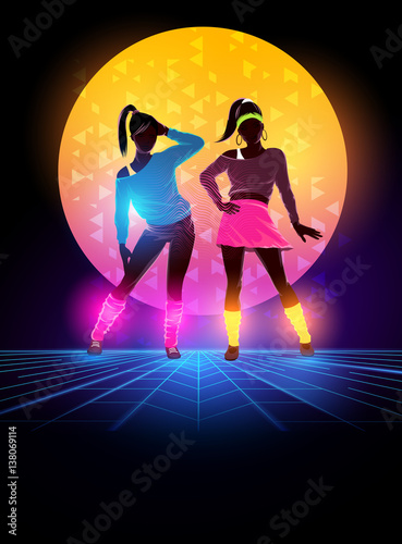 Women dressed up 1980's fashion. Retro dance background design. Vector illustration