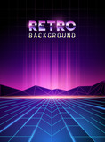 Fototapety retro 80's neon digital landscape with light beams. Vector illustration