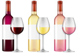 Wine bottles and glasses - red, white and rose wine. Vector illustration with smart transparencies - will work against any background!