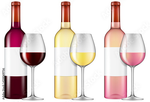 Fototapeta Wine bottles and glasses - red, white and rose wine. Vector illustration with smart transparencies - will work against any background!