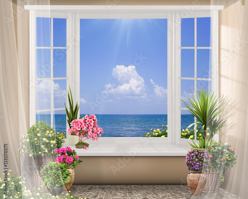 Fototapeta Window with color flowers, summer sea view with clouds, digital fresco