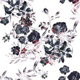 Watercolor painting of leaf and flowers, seamless pattern on white background - 138070511