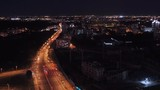 Night city with a birds-eye view. 50fps. View from a height.