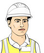 Engineer in a helmet and high visibility vest on a white background. Flat vector.