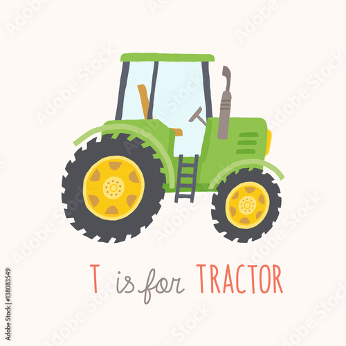 Fotobehang Boerderij Green hand drawn tractor.