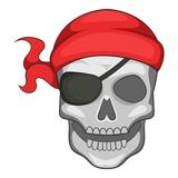 Pirate skull in bandane icon, cartoon style