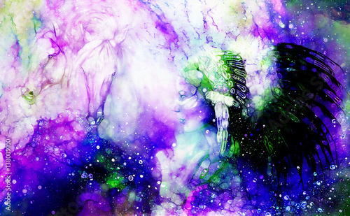indian woman wearing a gorgeous feather headdress, with two horse, and cosmic space background with graphic effect.