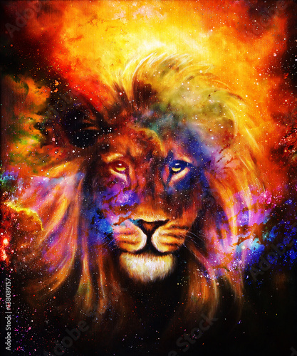Portrait lion in cosmic space. Eye contact.