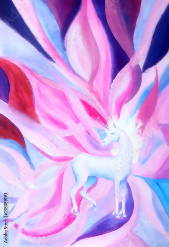 Unicorn on abstract background. Painting and graphic design.