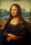 Fototapety Reproduction of painting Mona Lisa by Leonardo da Vinci and light graphic effect.