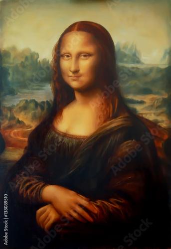 Reproduction of painting Mona Lisa by Leonardo da Vinci and light graphic effect.