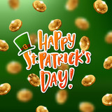 Happy St. Patricks Day poster with gold and green coins