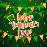 Hand drawn calligraphy Happy St. Patricks Day poster